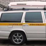 Haveriutredarbil (gasdriven äldre V70) hos STOP uppställd för skifte till dubbade vinterhjul.