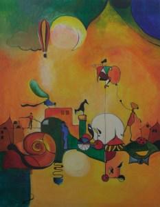 Zirkus in der Stadt - acryl, phantasie