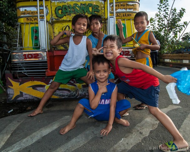 Children of the Philippines and a Jeepnie