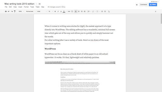 Google Docs Mac OS X screen shot