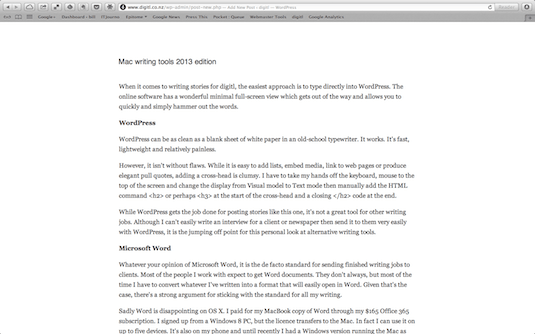 WordPress editor Mac OS X screen shot