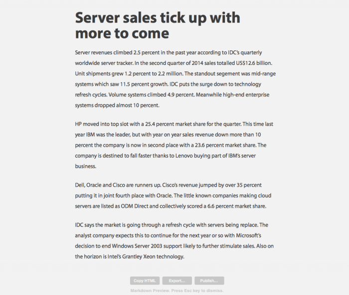Byword Markdown preview
