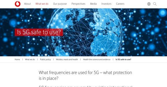 Vodafone UK 5G safety page