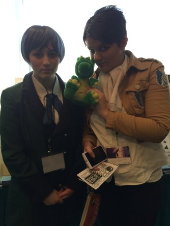 "Found this pair of anime cosplayers, with one as Ciel Phantomhive from ""Black Butler"" and the other as member of the Survey Corps from ""Attack on Titan."""