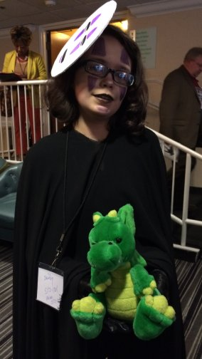 This young cosplayer decided to go as No Face (aka Kaonashi). Thankfully, she didn't try to spirit away with Windsor.