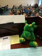 Windsor hanging out on the podium with me for one of the panels.