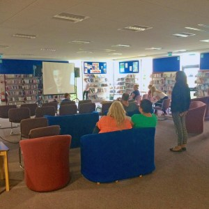 Trying out the seating. The Library seating is really quite comfortable - but our challenge was to work out how to organise it.