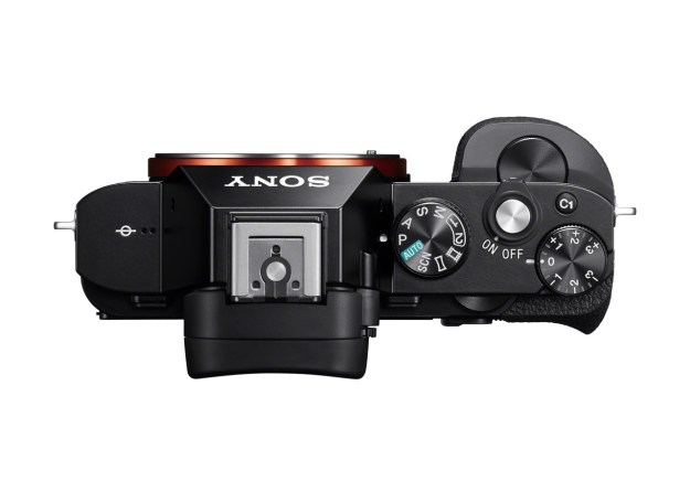 An overhead view of the Sony A7, a full-frame, 24 MP mirrorless digital camera