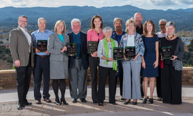 A group photo of the honorees and presenters at Prescott Resort for Arizona's National Philanthropy Day celebration