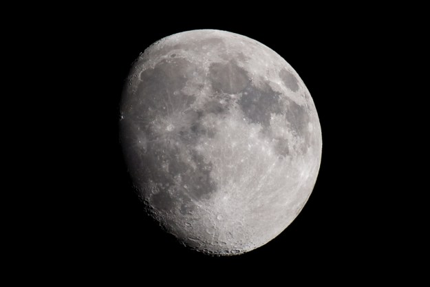 Handheld exposure of a waxing gibbous Moon on September 24, 2015. Image made with Nikon D610 and Nikkor 200-500 f/5.6E at 500mm, f/5.6, ISO 400, 1/800-second.