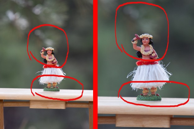 The photo to the left of the divider was made with the Nikon D610 and Nikkor 200-500mm f/5.6E at 400mm, f/5.6, ISO 400, 1/250-second. The photo on the right was made with the same lens at the same distance from subject also at 400mm, f/5.6, ISO 400, 1/250-second. (Bill Ferris)
