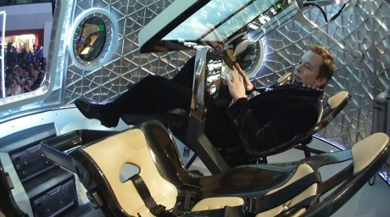 Elon Musk inside the crew dragon by spacex