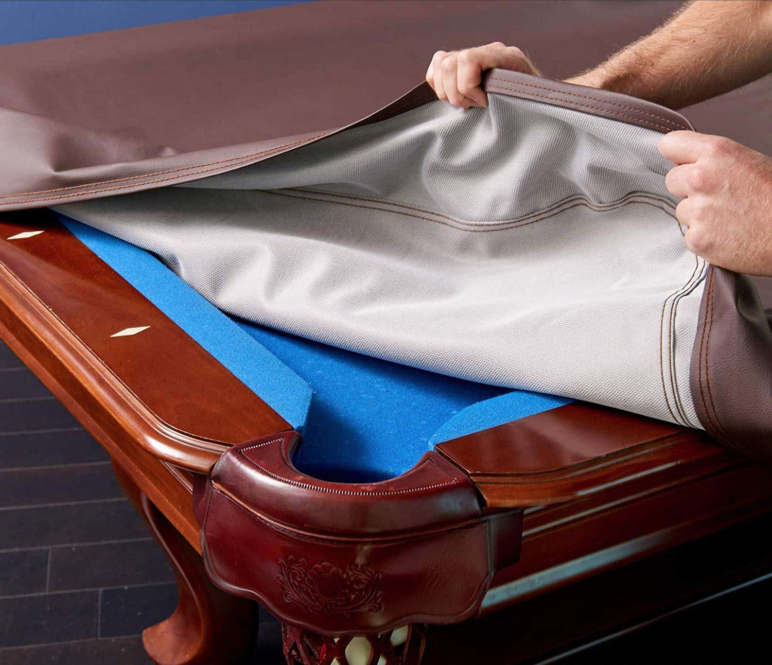 CueStix International Fitted Heavy Duty Naugahyde Pool Table Cover for 7-Feet Table Tan