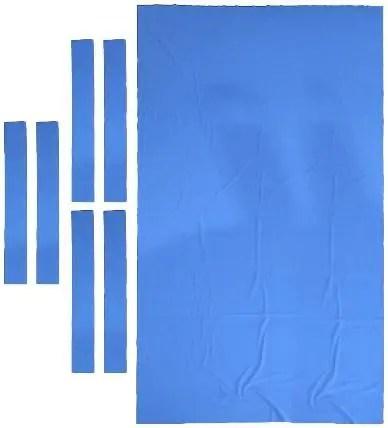 Professional 9 ft Pool Table Felt + 6 Felt Strips, Billiard Snooker Cloth Felt for 9 Foot Table, Blue, 0.9mm Thickness