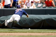 """""""Cleveland Indians first baseman Matt LaPorta dives for a foul ball in the fourth inning of a baseball game against the Baltimore Orioles Sunday, July 17, 2011 in Baltimore."""""""