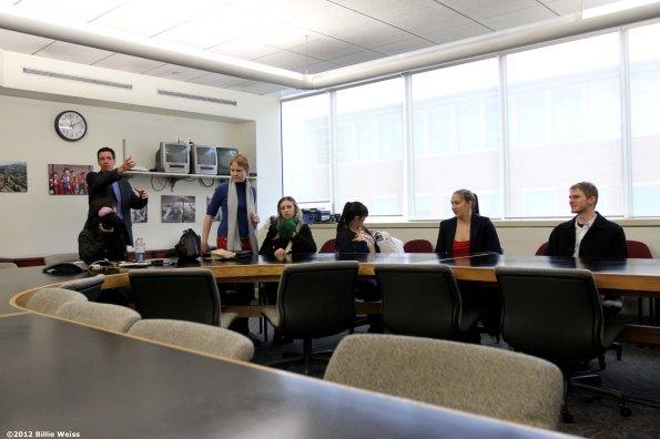 """Boston University journalism graduate students visit the newsroom of The Boston Globe Wednesday, November 28, 2012."""