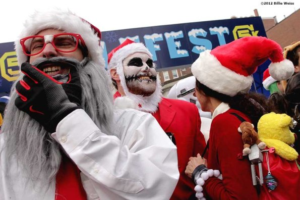 """""""Guests participate in a costume contest during Yulefest, a holiday themed 5K race in Cambridge, Massachusetts Sunday, December 2, 2012."""""""