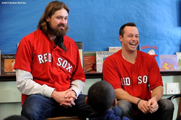 """""""Boston Red Sox pitcher Andrew Miller and outfielder Daniel Nava appeared at the Mather School in Dorchester, MA to visit classrooms, answer questions, and pose for photographs. The Mather School , founded in 1639, is the oldest public elementary school in the United States."""""""