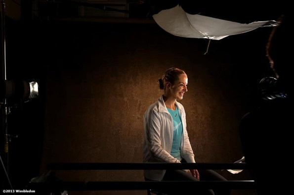 """""""Sabine Lisicki is interviewed in studio at the All England Lawn and Tennis Club in London, England Thursday, June 27, 2013 during the 2013 Championships Wimbledon."""""""