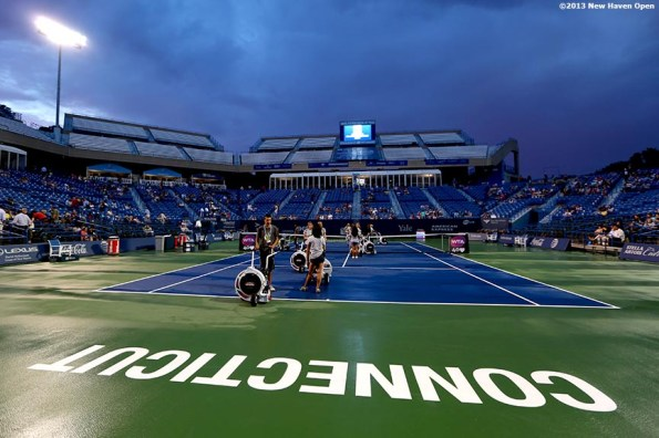 """""""Stadium Court is shown during a rain delay on Day 4 of the New Haven Open at Yale University in New Haven, Connecticut Monday, August 19, 2013."""""""