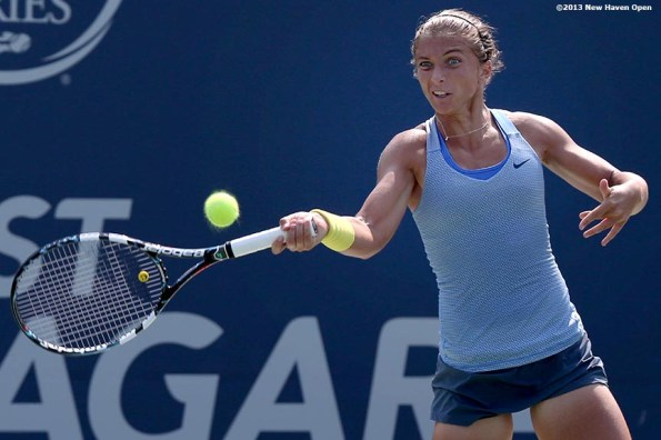 """""""Sara Errani hits a forehand on Day 6 of the New Haven Open at Yale University in New Haven, Connecticut Wednesday, August 20, 2013."""""""