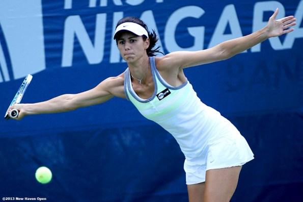 """""""Tsvetana Pironkova reaches for a forehand on Day 2 of the New Haven Open at Yale University in New Haven, Connecticut Saturday, August 17, 2013."""""""