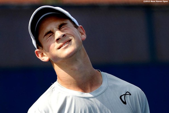 """""""Elliot Orkin reacts after losing a point during a US Open National Playoff match on Day 2 of the New Haven Open at Yale University in New Haven, Connecticut Saturday, August 17, 2013."""""""