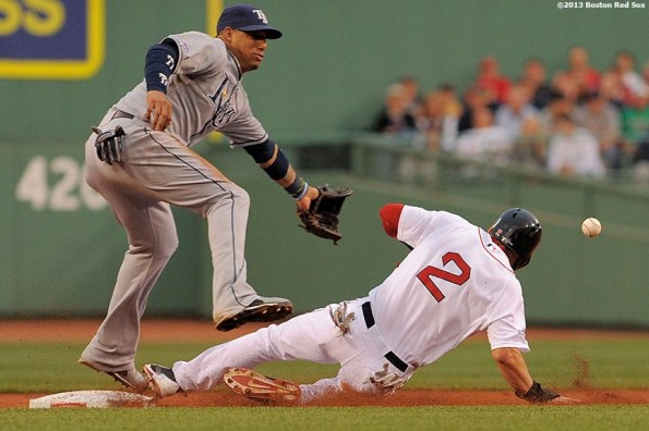 """""""Boston Red Sox center fielder Jacoby Ellsbury steals second base during the first inning of game two of the American League Division Series against the Tampa Bay Rays Saturday, October 5, 2013 at Fenway Park in Boston, Massachusetts."""""""