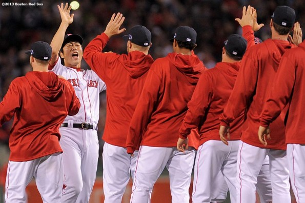 """""""Boston Red Sox pitcher Koji Uehara celebrates after defeating the Tampa Bay Rays 7-4 in game two of the American League Division Series to take a 2-0 series lead Saturday, October 5, 2013 at Fenway Park in Boston, Massachusetts."""""""