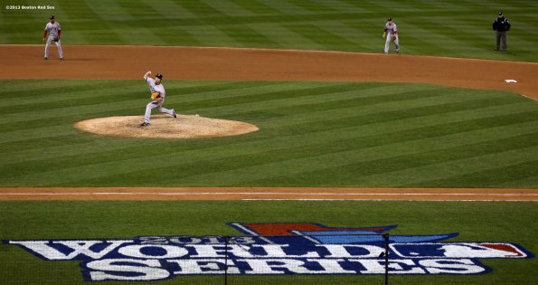 """""""Boston Red Sox pitcher Koji Uehara delivers during the ninth inning of game four of the 2013 World Series against the St. Louis Cardinals Sunday, October 27, 2013 at Busch Stadium in St. Louis, Missouri."""""""