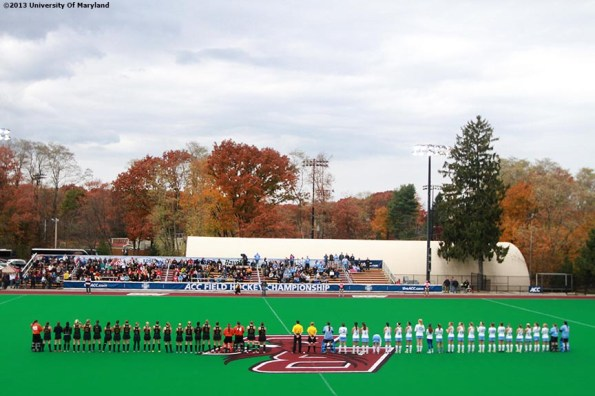 """""""The University of Maryland and the University of North Carolina Field Hockey teams are introduced before the ACC Field Hockey Conference Championship game Sunday, November 10, 2013 at Boston College in Newton, Massachusetts."""""""
