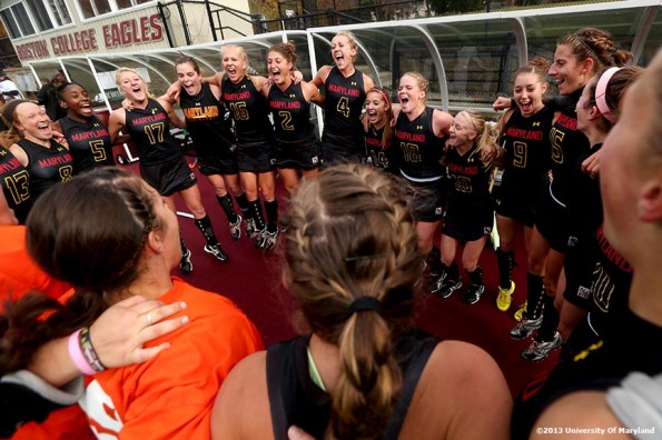 """""""The University of Maryland field hockey team cheers while in a huddle before the ACC Field Hockey Conference Championship game Sunday, November 10, 2013 at Boston College in Newton, Massachusetts."""""""