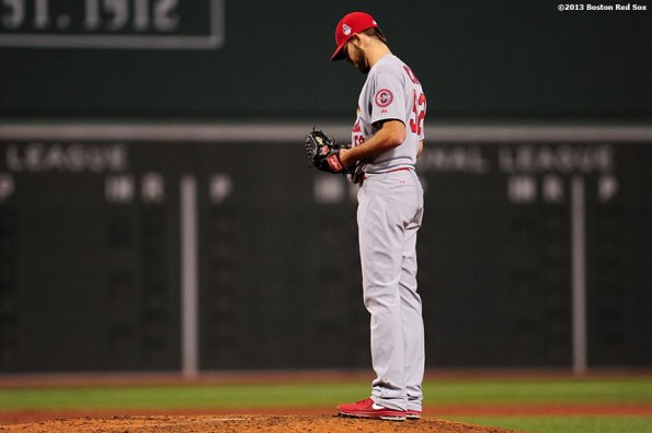 """""""St. Louis Cardinals pitcher Michael Wacha looks down during the fourth inning of game six of the 2013 World Series against the Boston Red Sox Wednesday, October 30, 2013 at Fenway Park in Boston, Massachusetts."""""""