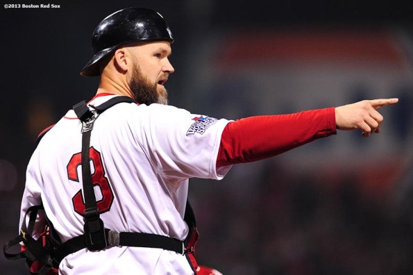 """""""Boston Red Sox catcher David Ross points during the first inning of game six of the 2013 World Series against the St. Louis Cardinals Wednesday, October 30, 2013 at Fenway Park in Boston, Massachusetts."""""""