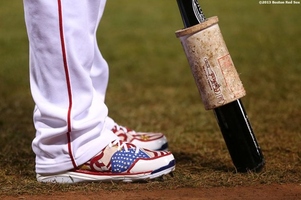 """""""The cleats of Boston Red Sox right fielder Shane Victorino are shown during the first inning of game six of the 2013 World Series against the St. Louis Cardinals Wednesday, October 30, 2013 at Fenway Park in Boston, Massachusetts."""""""