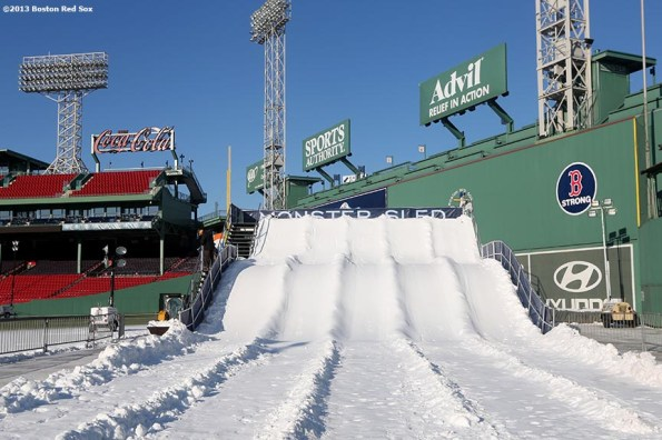 """""""The Monster Sled sledding course is shown before the first day of Frozen Fenway 2014 at Fenway Park in Boston, Massachusetts Friday, December 27, 2013."""""""