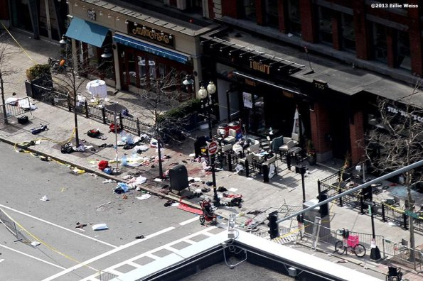 April 15, 2013 – Boston, Massachusetts, United States: Debris on Boylston Street is shown after two bombs were detonated at the finish line of the 2013 Boston Marathon. (Billie Weiss)