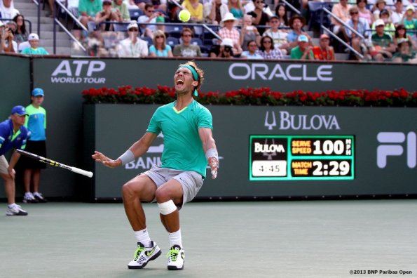 """""""Rafael Nadal reacts after defeating Juan Martin Del Potro in the championship Sunday, March 18, 2013 at the BNP Paribas Open in Indian Wells, California."""""""