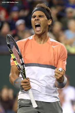 """""""Rafael Nadal reacts after winning a point during a match against Radek Stepanek in the second round of the 2014 BNP Paribas Open Saturday, March 8, 2014 in Indian Wells, California."""""""
