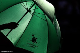"""""""An umbrella is shown at the BNP Paribas Open in Indian Wells, California Sunday, March 9, 2014."""""""