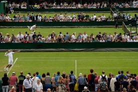 """""""Radek Stepanek serves as play begins on day one of the 2014 Championships Wimbledon at the All England Lawn and Tennis Club in London, England Monday, June 23, 2014."""""""