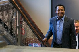 """""""Former Boston Red Sox pitcher Pedro Martinez walks up the stairs before addressing the media during a press conference after being informed that he was inducted into the Major League Baseball Hall of Fame at Fenway Park in Boston, Massachusetts Tuesday, January 6, 2015."""""""