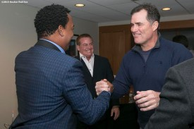 """""""Former Boston Red Sox pitcher Pedro Martinez shakes hands with Manager John Farrell after being informed that he was inducted into the Major League Baseball Hall of Fame at Fenway Park in Boston, Massachusetts Tuesday, January 6, 2015."""""""