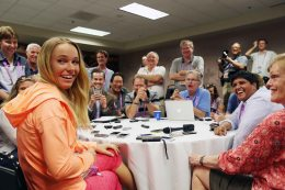 """""""Caroline Wozniacki takes part in the WTA All-Access Hour at the Indian Wells Tennis Garden in Indian Wells, California Tuesday, March 11, 2015."""""""