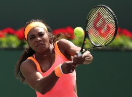 """""""Serena Williams in action against Sloane Stephens during their match at stadium 1 at the Indian Wells Tennis Garden in Indian Wells, California on Tuesday, March 17, 2015."""""""