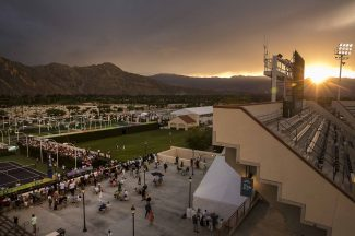 """""""Sun sets on day ten at the Indian Wells Tennis Garden in Indian Wells, California Wednesday, March 18, 2015."""""""