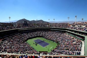 """""""An overall view of Stadium 1 as Roger Federer plays Tomas Berdych on day twelve at the Indian Wells Tennis Garden in Indian Wells, California Friday, March 20, 2015."""""""