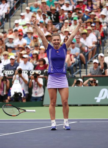 """""""Simona Halep reacts after defeating Jelena Jankovic in the 2015 BNP Paribas Open Women's Singles Final in Indian Wells, California on Sunday, March 22, 2015."""""""