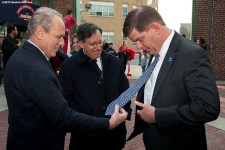 """""""Boston Red Sox President & CEO Larry Lucchino and Chairman Tom Werner greet Boston Mayor Marty Walsh during a walk through of Fenway Park in Boston, Massachusetts Monday, April 6, 2015."""""""