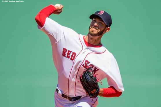 """""""Boston Red Sox pitcher Rick Porcello delivers during the first inning of a game against the Baltimore Orioles at Fenway Park in Boston, Massachusetts Sunday, April 19, 2015."""""""